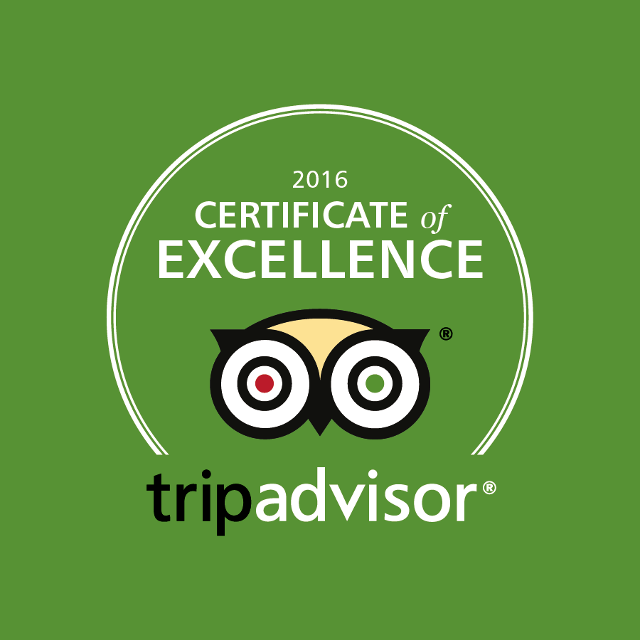 TripAdivsor Certificate of Excellence 2016